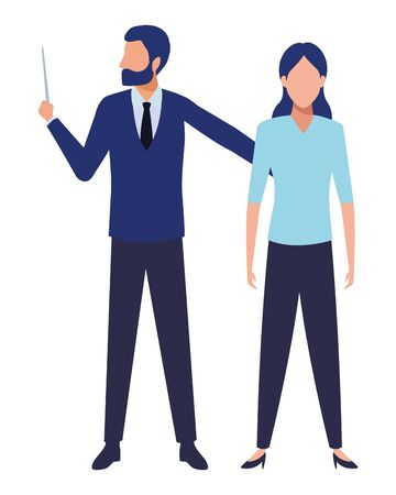 business business people businessman wearing beard and using a wand avatar cartoon character vector illustration graphic design