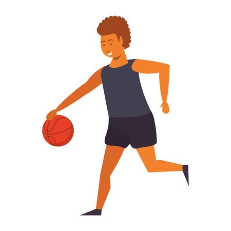 Young man playing basketball isolated vector illustration graphic design