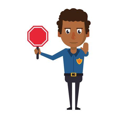 afro policeman working with roadsign avatar cartoon character vector illustration graphic design Ilustração