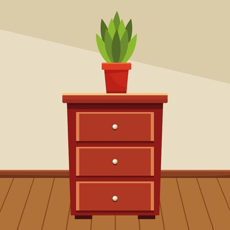 Wooden drawer with plant pot home decoration home building interior scenery with wooden floor ,vector illustration graphic design.