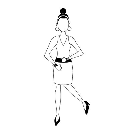 cartoon elegant woman wearing dress over white background, vector illustration