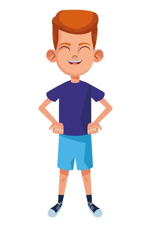 little kid boy smiling with hand on the waist avatar cartoon character portrait isolated vector illustration graphic design
