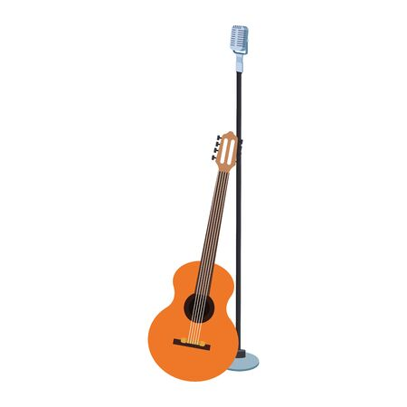 guitar instrument and microphone over white background, colorful design. vector illustration