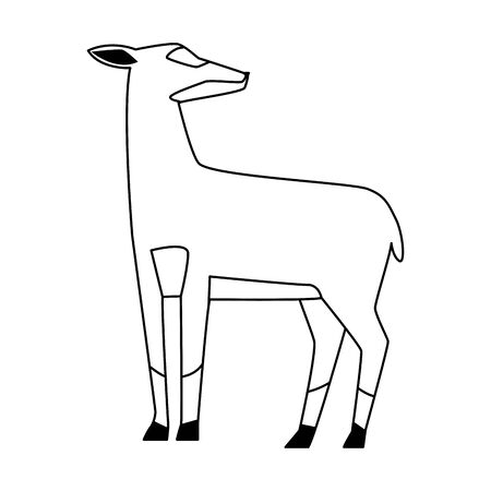 cartoon deer icon over white background, black and white design. vector illustration Иллюстрация