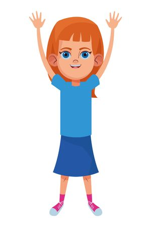little kid girl with hands up avatar cartoon character portrait isolated vector illustration graphic design
