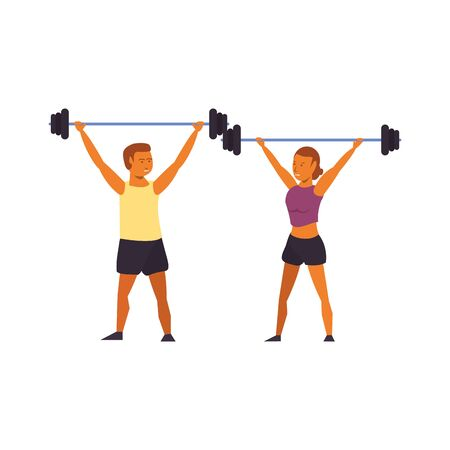 fitness couple training weights lifting sport cartoons isolated vector illustration graphic design