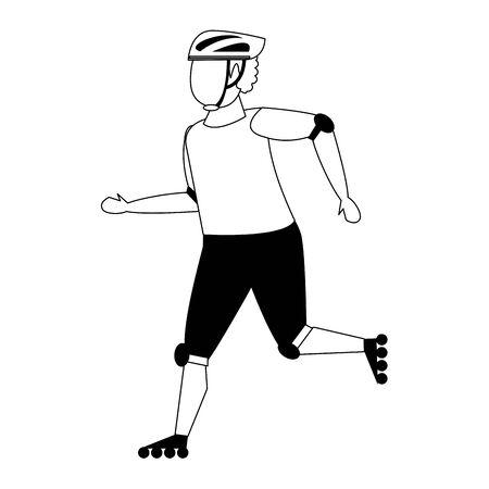 Hombre afroamericano montando en patines diseño gráfico aislado del ejemplo del vector de la historieta