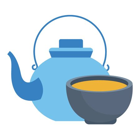 Teapot and tea drink in cup cartoon ,vector illustration graphic design. 일러스트