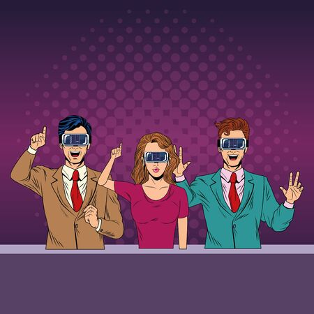 group of people with virtual reality headset avatar cartoon character with pop art background vector illustration graphic design