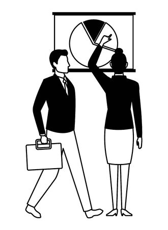 business business people businessman carrying a briefcase and businesswoman back view pointing a data chart avatar cartoon character in black and white Ilustração