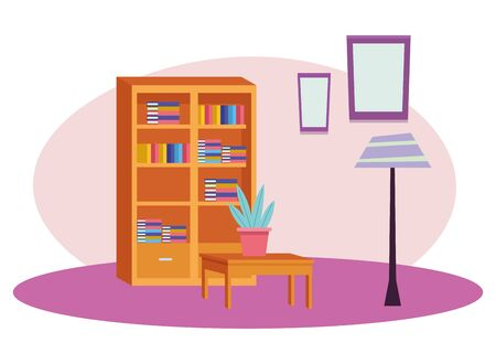Office workplace elements library with books and plant pot on desk cartoons ,vector illustration graphic design.