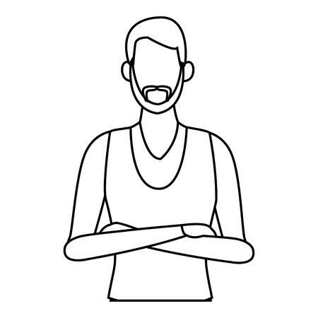 young man upper body cartoon vector illustration graphic design Standard-Bild - 134539646