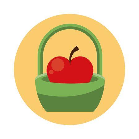 apple fresh fruit in basket vector illustration design Foto de archivo - 134573413