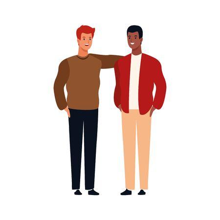 cartoon friends men standing icon over white background, vector illustration Ilustração