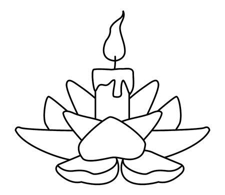 burning candle on flower cartoon ,vector illustration graphic design.