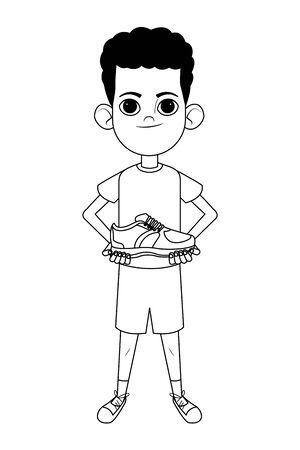 Niño niño afroamericano sosteniendo una zapatilla de deporte avatar personaje de dibujos animados retrato aislado en blanco y negro ilustración vectorial diseño gráfico