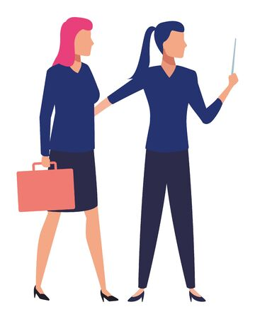 business business people businesswoman holding a wand and businesswoman carrying a briefcase avatar cartoon character vector illustration graphic design Ilustração