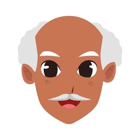 old man face cartoon icon over white background, vector illustration