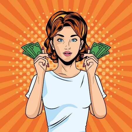 young girl with bills dollars pop art style character vector illustration design