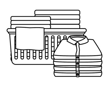 laundry wash and cleaning folded clothes in a cleanlines basket icon cartoon in black and white vector illustration graphic design