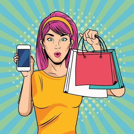 young girl with shopping bags and smartphone pop art style vector illustration design