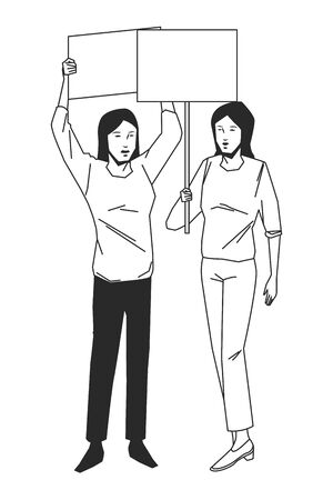 social activity and public protest woman raising a blank sign in black and white avatar cartoon character vector illustration graphic design