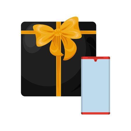smartphone device with gift present vector illustration design