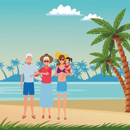 summer vacation people family at beach cartoon vector illustration graphic design Foto de archivo - 134546645