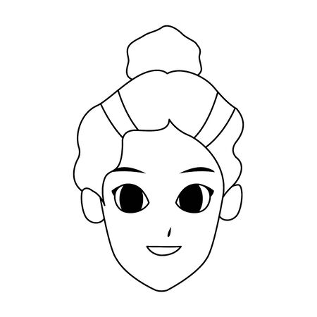 cartoon woman smiling over white background, vector illustration Çizim