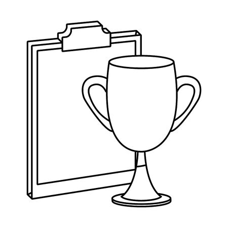 Office elements and business symbols clipboard and trophy cup ,vector illustration graphic design.