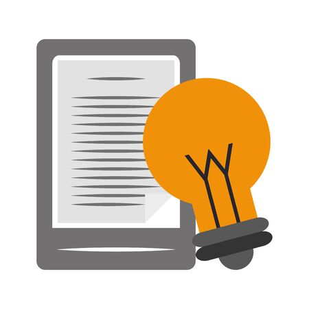 tablet and bulb light icon over white background, vector illustration