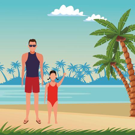 summer vacation man at beach with girl cartoon vector illustration graphic design Foto de archivo - 134548883
