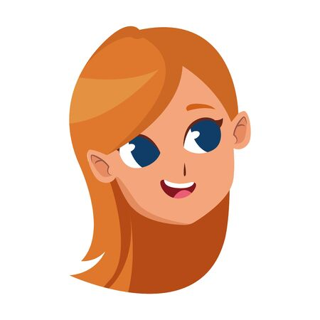 young girl with long hair cartoon icon over white background, vector illustration
