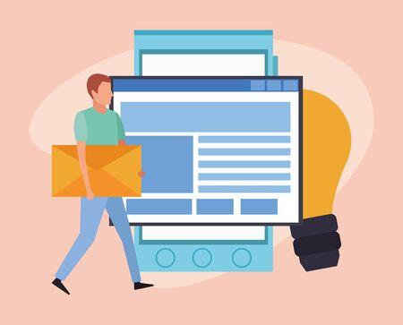 windows web and man with big envelope and smartphone device over orange background, colorful design , vector illustration Illusztráció