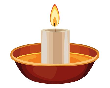 lit candle on a bowl icon cartoon isolated vector illustration graphic design