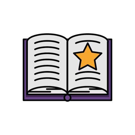 halloween magician text book icon vector illustration design