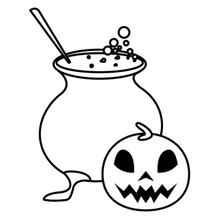 halloween pumpkin with witch cauldron vector illustration design
