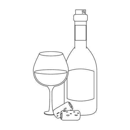 wine bottle and glass over white background, vector illustration Foto de archivo - 134691648