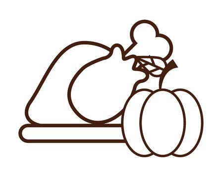 delicious turkey cooking thanksgiving food vector illustration design 向量圖像