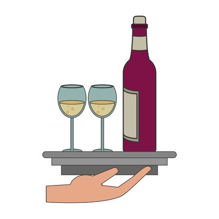 waiter hand with a platter with wine bottle and glasses over white background, vector illustration Foto de archivo - 134691682