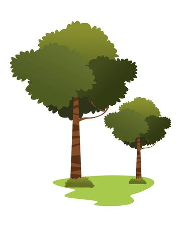 leafy trees isolated icon cartoon vector illustration graphic design