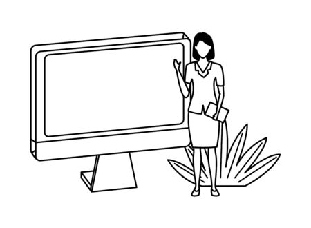 Executive businesswoman with computer screen and document ,vector illustration graphic design.