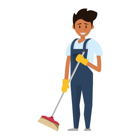 Cleaner worker man smiling with cleaning products and equipment vector illustration graphic design. Foto de archivo - 134557844