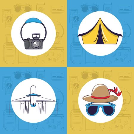 Travel and tourism set of square frame emblems with vacations cartoons on blue and yellow background vector illustration graphic design