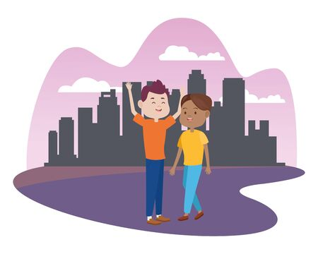 young couple characters in the city vector illustration design Standard-Bild - 134573880