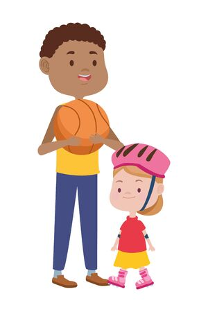young father with daughter in skates and basketball balloon vector illustration design