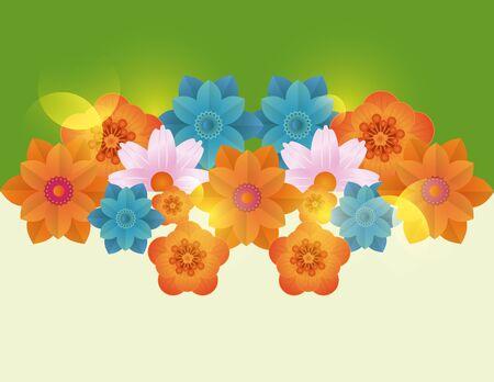 Floral frame blank colorful card vector illustration graphic design