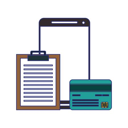 Smartphone and credit card with document clipboard symbol vector illustration graphic design Zdjęcie Seryjne - 134558506