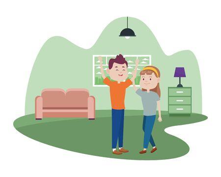 young couple characters in the livingroom vector illustration design Vector Illustratie