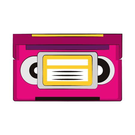 retro cassette icon over white background, vector illustration Иллюстрация